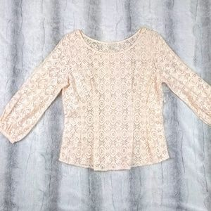 Hinge Woman's Size Small Lace Blouse Peach | K1